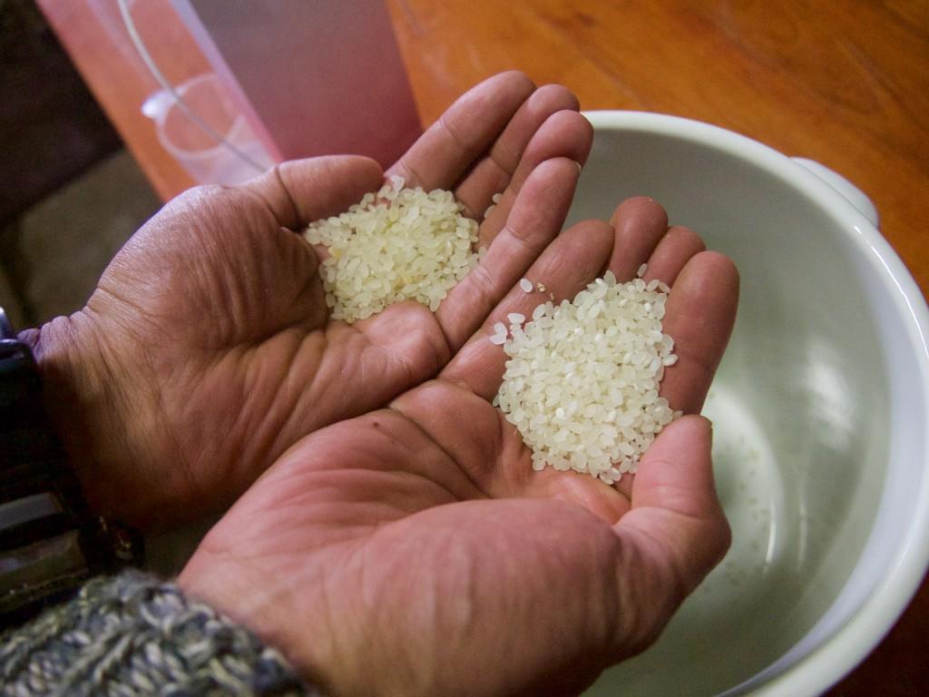 自然農で育てたお米。 右が白米、左が7分付き。